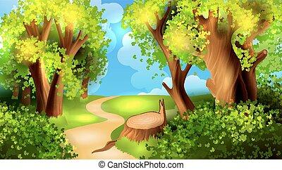 Kartoon Wald Hintergrund.