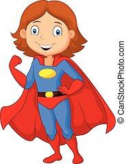 Kartoon weiblicher Superheld posiert.