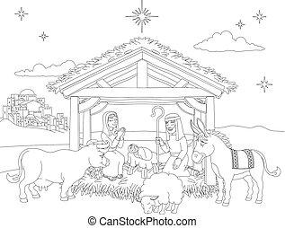 Kartoon-Weihnachtsszene-Farben