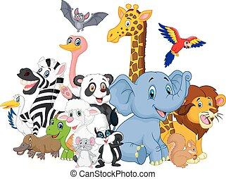 Kartoon Wildtiere Hintergrund.