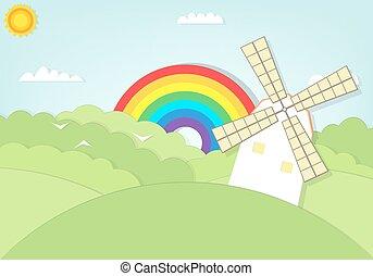 Kartoon Windmühle im Grasfeld