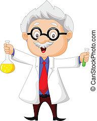 Kartoon-Wissenschaftler mit Chemikalien.