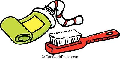 Kartoon-Zahnpasta und Zahnbürste.