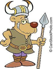 Kartoonbären gekleidet wie ein Wikinger und halten einen Speer.