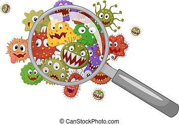 Kartoonbakterien unter einer Lupe.