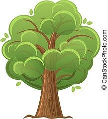 Kartoonbaum, grüner Eichenbaum mit üppigem Laub. Vector Illustration.
