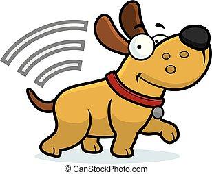 Kartoonhund mit Mikrochip.