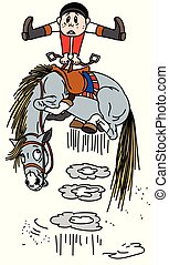 Kartoonpferd wirft einen Reiter weg