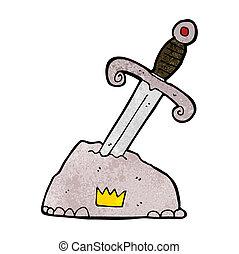 Kartoonschwert in Stein.
