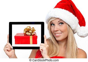 kasten, blond, tablette, geschenk, schirm, weihnachten, jahr, edv, polster, besitz, berühren, neu , m�dchen, hut, zubehörteil, rotes