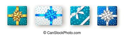 kasten, bow., silber, blaues, geschenk, goldenes, geschenkband