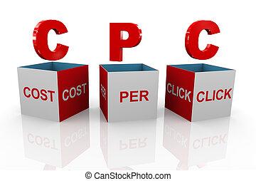 kasten, cpc, -, pro, kosten, klicken, 3d