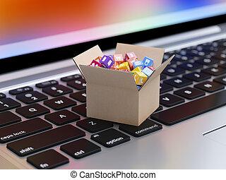 kasten, heiligenbilder, app, tasten, tastatur, pappe, laptop
