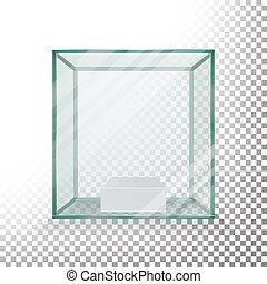 kasten, würfel, glas, showcase., realistisch, leerer , vector., durchsichtig, cube.