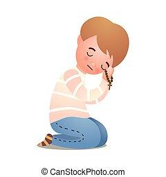 Katholische Christenheit, kleiner Junge, betet Gott