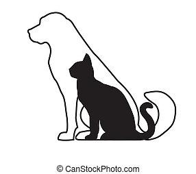 katz, hund, schwarz, weißes