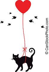 Katze mit Herzballon