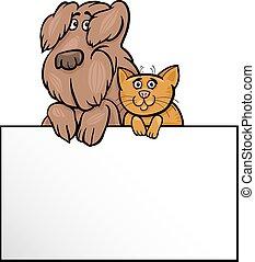 Katze und Hund mit Karten-Card-Cartoon-Design