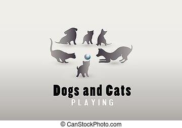katzen, hunden, vektor, spielende , logo