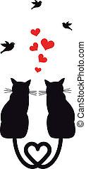 Katzen mit Herzen und Vögeln, Vektor.