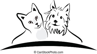 Katzen- und Hundelogo-Vektor.