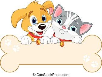 Katzen- und Hundeschild.