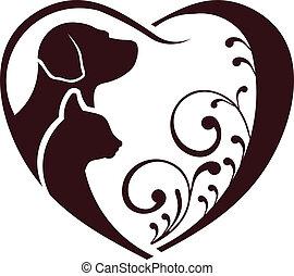 Katzenhund liebt Herz