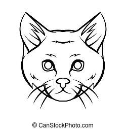 Katzenkopf-Tattoo-Vektor-Anzeige.
