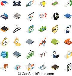 Kauf von Aktiv-Icons gesetzt, isometrische Stil