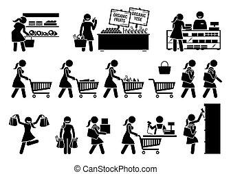 kaufen, kaufmannsladen, früchte, icons., frau, fleisch, stock, lebensmittelgeschäft, gemuese, figur