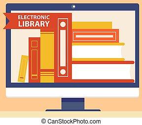 kaufmannsladen, begriff, digital, elektronisch, online, bücherstapel, buchausleihe, monitor, buch, schirm