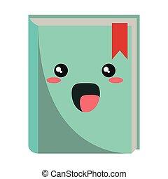 Kawaii Buch lächelnde Cartoon isoliert.