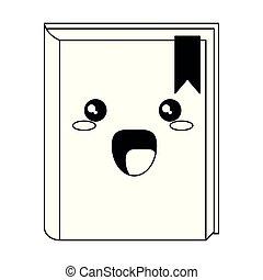 Kawaii Buch lächelnde Cartoon isoliert in schwarz und weiß.