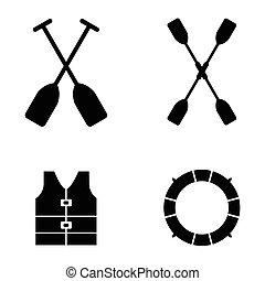 Kayak Icons Vector Illustration.