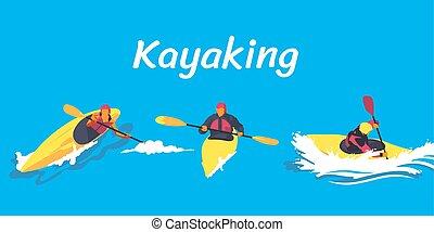 Kayaking Illustration eingestellt.