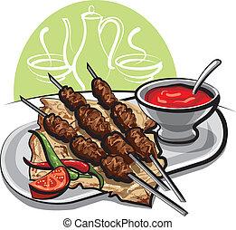 Kebab mit Tomatensoße