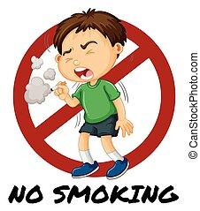 Kein Rauchzeichen, wenn ein Junge Zigaretten raucht.