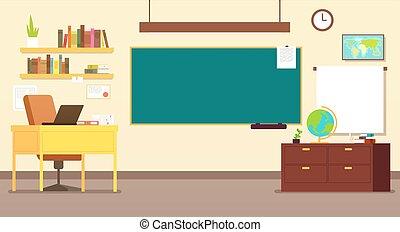 Kein Schulzimmer-Innenraum mit LehrerInnentisch und Schwarztafel-Vektorgrafik