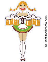 Kellnerin mit Gläsern von Bier.Vector Frau Illustration isoliert