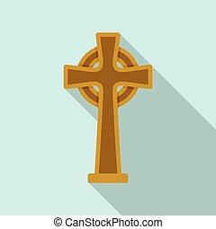 keltisch, irisch, wohnung, ikone, vector., kreuz, symbol