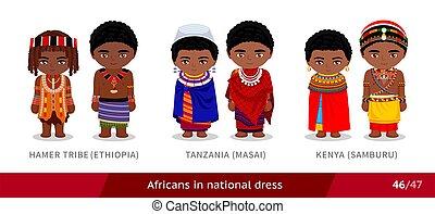 kenia, hamer, äthiopien, stamm, national, dress., masai, maenner, tansania, frauen, samburu.