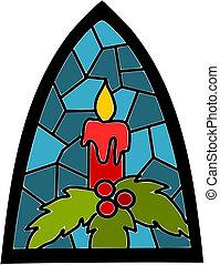 Kerzen für die Weihnachtszeit auf blauem Glasfenster.