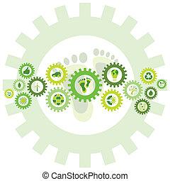 Kette von Rädern, gefüllt mit Bio-Umwelt-Ikonen und Symbolen