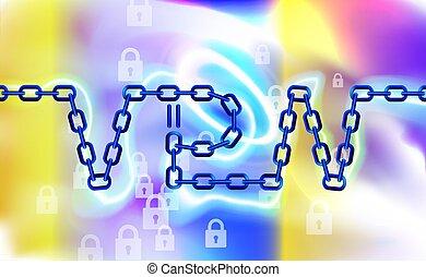 kette, wifi., design, schützen, vpn, sicher, safety., vernetzung, stil, abbildung, concept., vektor, modern, internet, privat, retten, hintergrund., virtuell, sicherheit, overview., konnektivität, anschluss