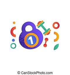 Kettlebell und Dummkopf, Sport, Fitness, gesunde Lifestyle Symbole Vektor Illustration auf weißem Hintergrund.