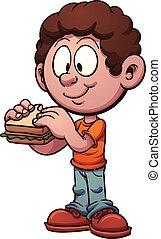 Kid isst ein Sandwich