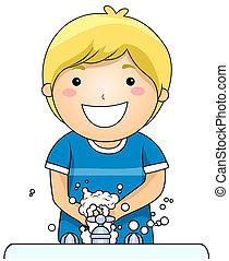 Kid wäscht sich die Hände