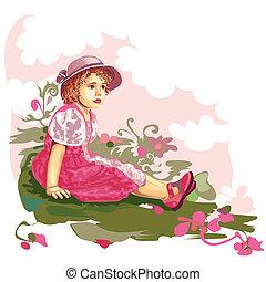 Kind auf Blumenwiese