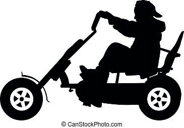 Kind auf einer Fahrrad-Silhouette, Teenager auf einer Fahrradtour.