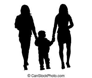 kind, familie laufen, zwei